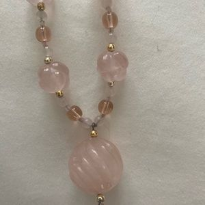 Pink quartz necklace